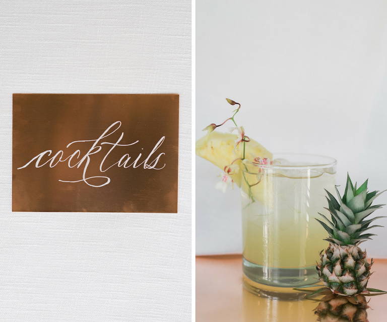 Modern Gold Foil Cocktail Hour Signs and Mini Pineapple Mixed Drink | Tropical Beach Wedding Inspiration | Minted.com Wedding Invitation Stationery