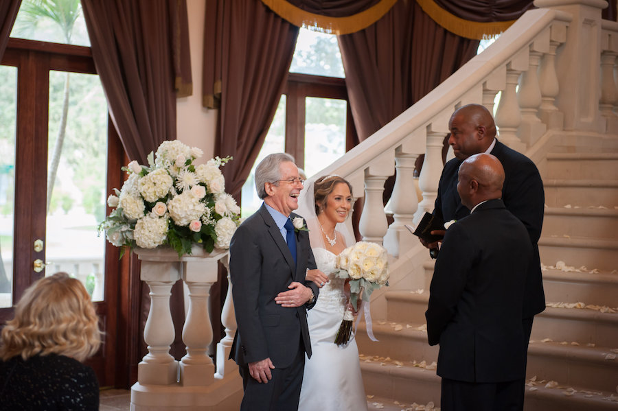 Dad Giving Bride away at South Tampa Wedding Ceremony