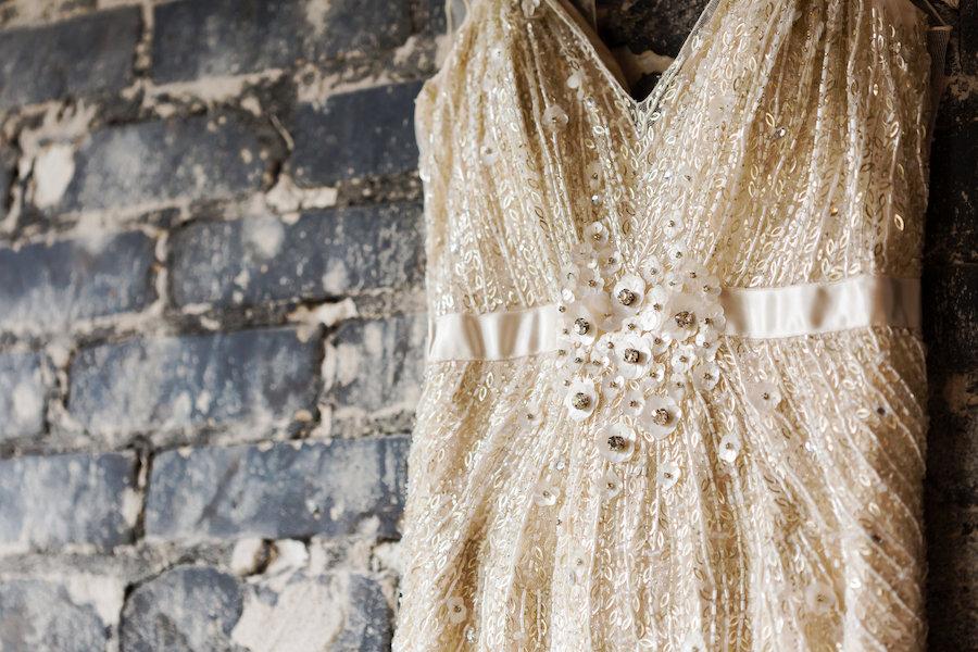 Ivory Cream Beaded Jenny Packham Wedding Dress with Satin Belt and Sequin Detail