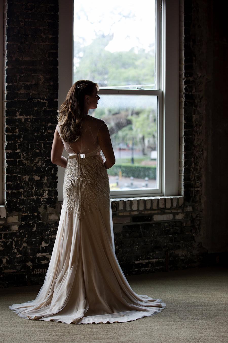 Bridal Wedding Portrait in Backless, Beaded Ivory Jenny Packham Wedding Dress with Court Train