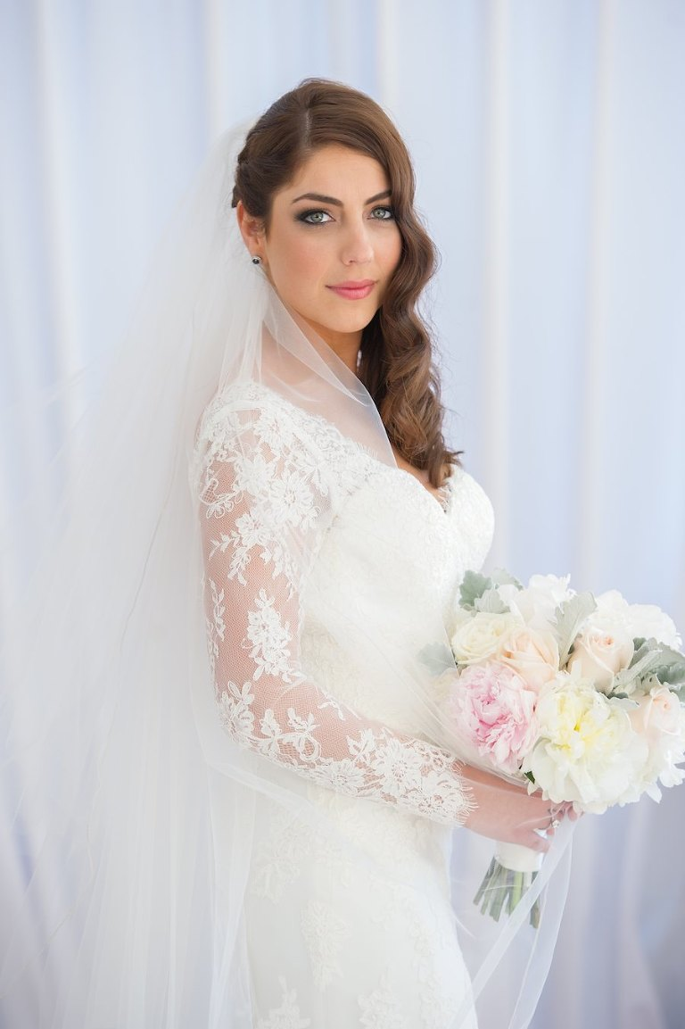 Bridal Wedding Portrait in Ivory, Lace Long Sleeve Wedding Dress and Ivory and Pink Bridal Bouquet | Tampa Wedding Photographer Andi Diamond Photography