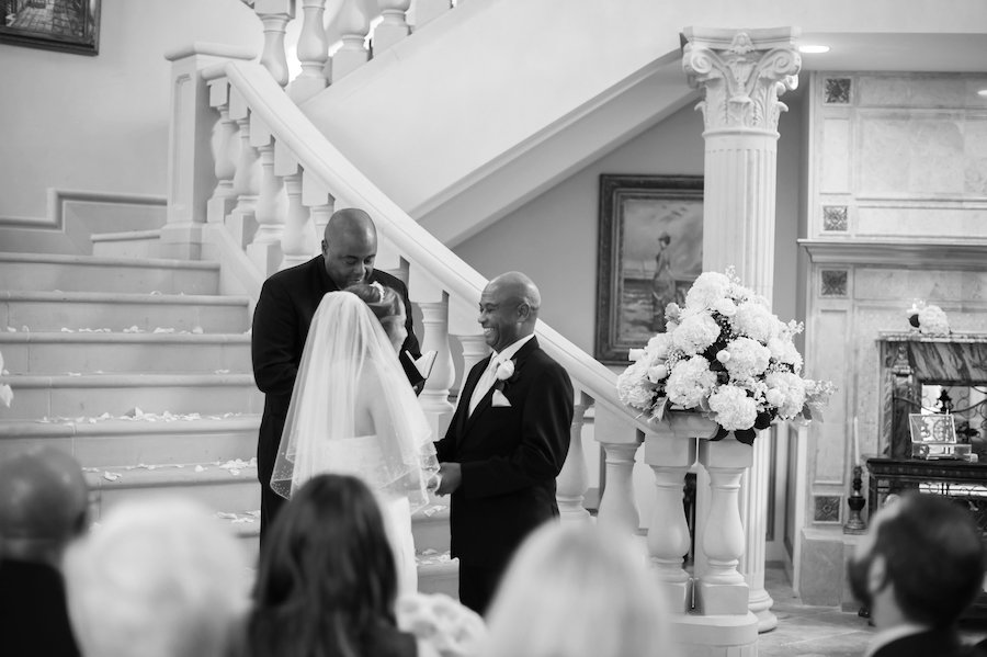 Bride and Groom Exchanging Vows at South Tampa Wedding Ceremony