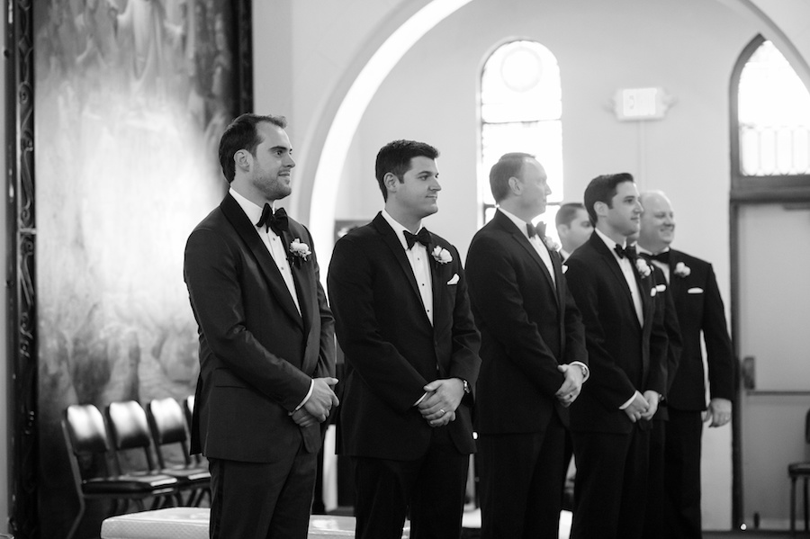 Groom Seeing Bride Walk Down The Aisle at Tampa Wedding Ceremony