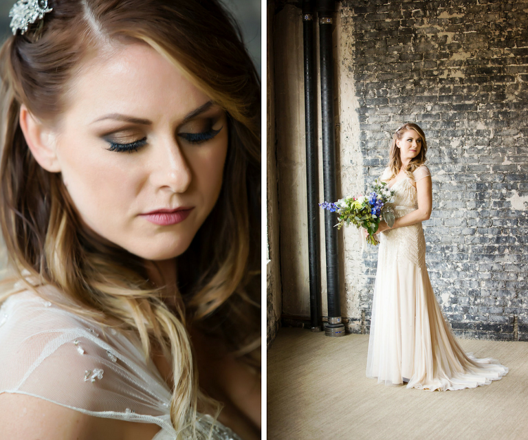 Bridal Wedding Portrait in Beaded Art Deco Inspired Ivory Jenny Packham Wedding Dress with Ivory and Blue Wedding Bouquet | Glamorous Wedding Makeup by Tampa Makeup Artist Lindsay Does Makeup