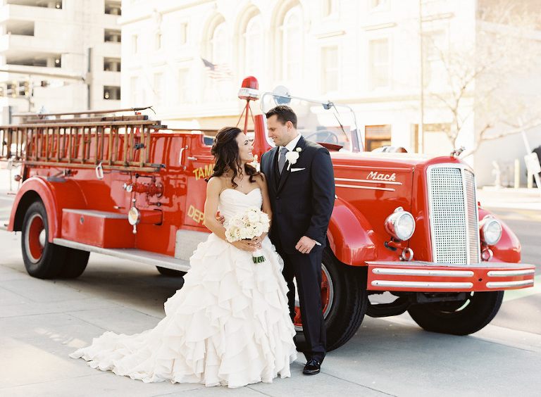 Bride and Groom Wedding Portrait in Ivory Strapless Sweetheart Ballgown with Vintage Firetruck | Downtown Tampa Wedding Planner Blush by Brandee Gaar