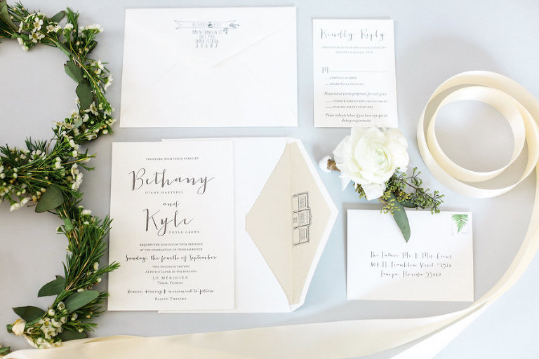 Modern White and Grey Wedding Invitation Suite with Ivory Roses by A and P Designs in Tampa FL