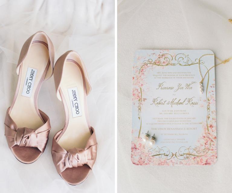 Blush Satin Jimmy Choo Peep Toe Wedding Shoe | Blush and Gold Wedding Invitation