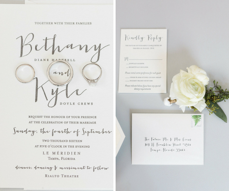 Modern Industrial White and Grey Wedding Invitation Suite by A and P Designs in Tampa FL