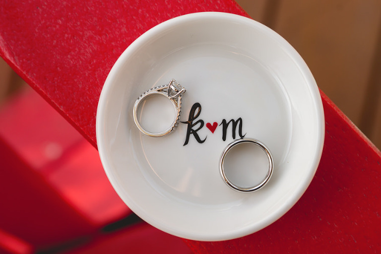 Bridal Jewelry: Engagement and Wedding Ring Portrait on Monogram Ring Dish Holder