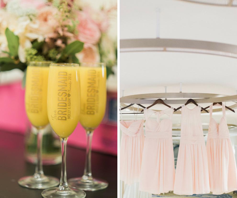 Blush Pink Bill Levkoff bridesmaid dresses | Bridesmaid Mimosa champagne flutes | Monogrammed wedding gifts