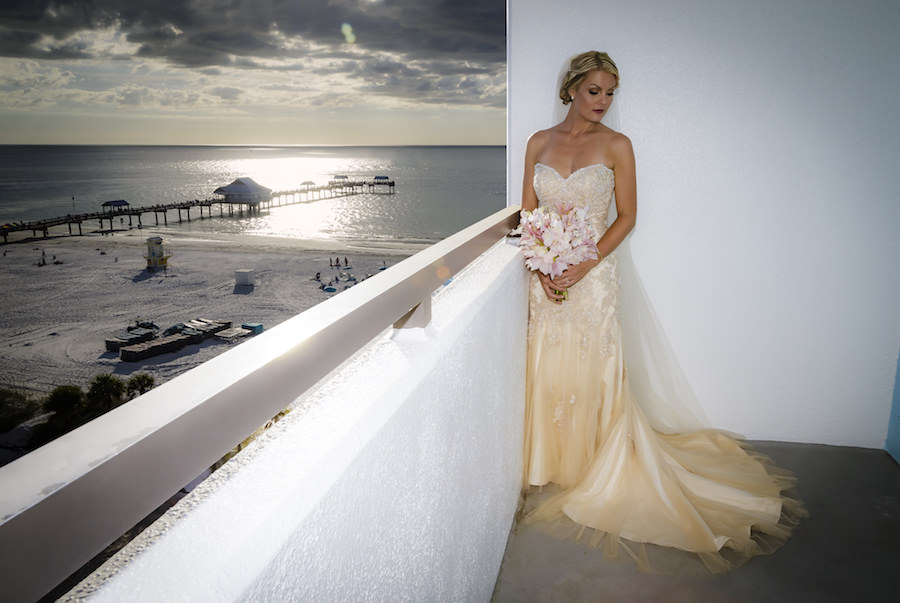 Outdoor, Clearwater Beach Bride Wedding Portrait with Sweetheart Beaded Champagne Wedding Dress and Long Veil