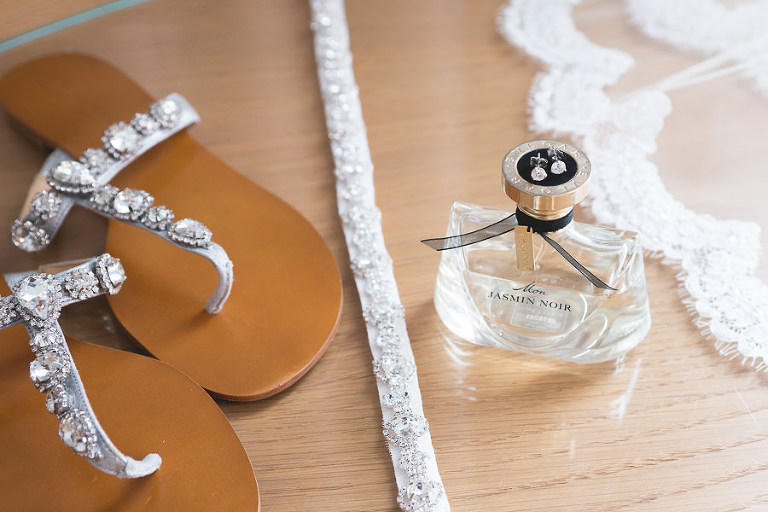Bride Getting Ready Accessories | Sparkle Rhinestone Sandals and Wedding Day Perfume with Diamond Earrings