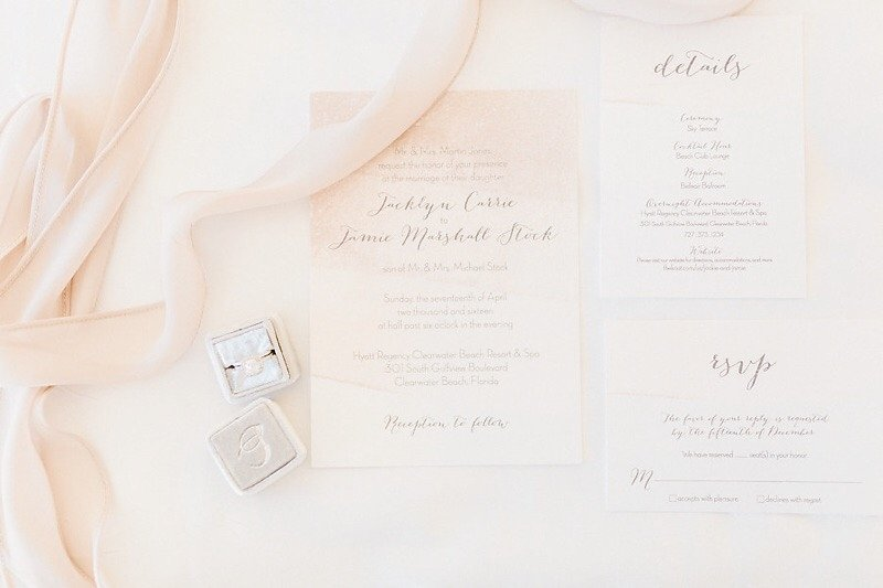 White and Pastel Blush Pink Wedding Invitation Suite with Script Calligraphy Style Font
