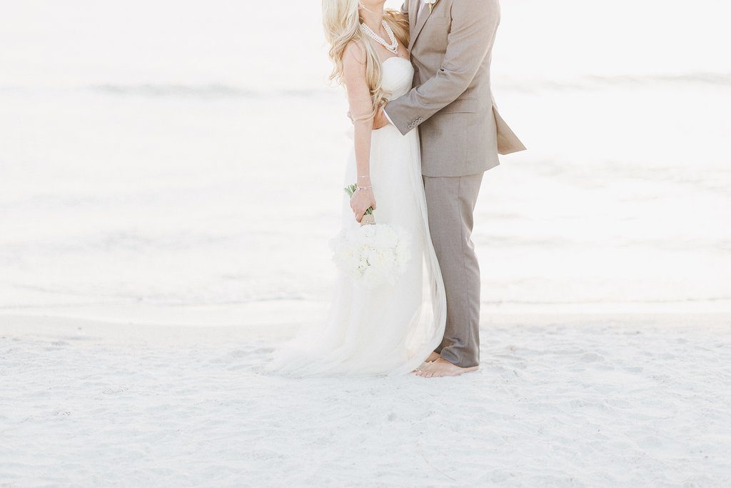 Bride and Groom Gulf of Mexico Florida Wedding Portrait | Tampa Bay Hotel Wedding Venue Hyatt Clearwater Beach Regency