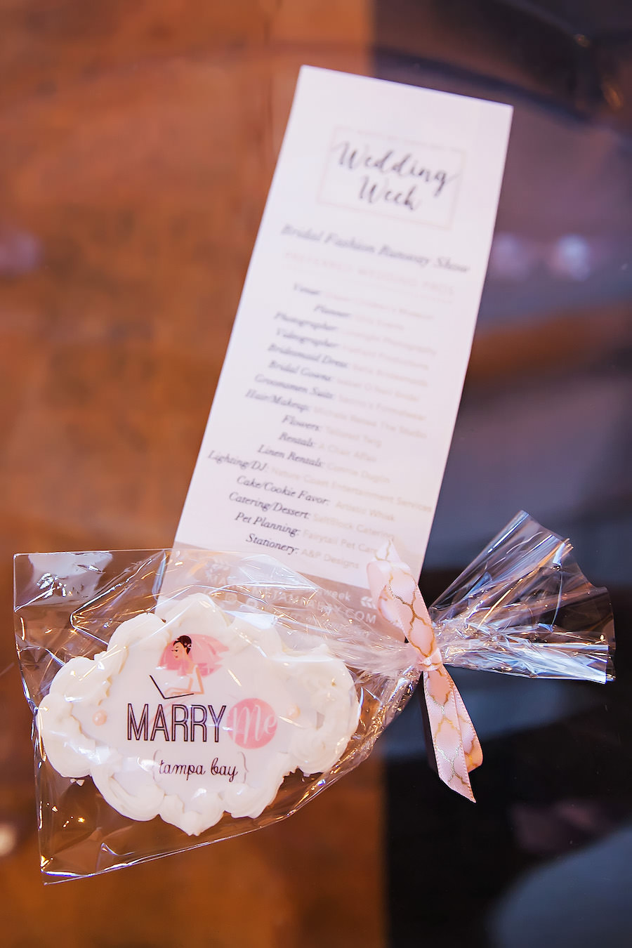 Monogramed Custom Printed Marry Me Tampa Bay Cookie Favor | Tampa Bay Wedding Cake Baker The Artistic Whisk | Marry Me Tampa Bay Wedding Week Bridal Fashion Show