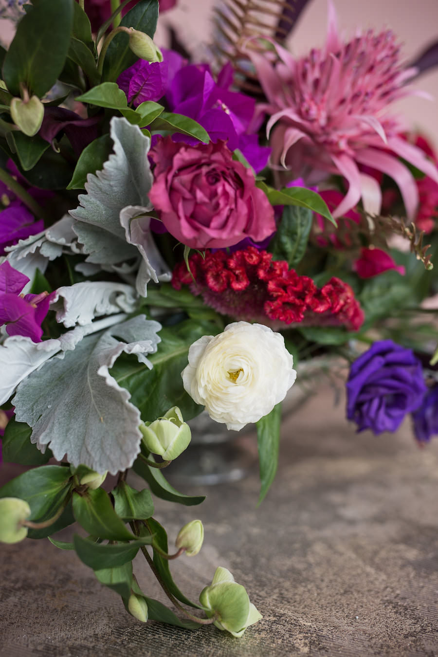 Purple and Pink Wedding Floral Centerpieces with Greenery