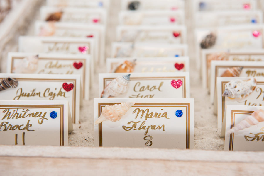 Beach Themed Gold Table Number Placecards with Shell Accents   Outdoor, Waterfront Wedding Reception