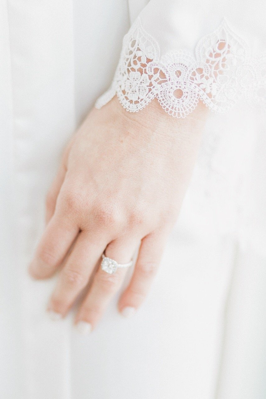Bride Engagement Ring with Long Sleeve Lace Wedding Dress