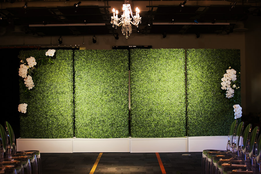 Modern Wedding Reception Inspiration & Ideas| Greenery Wall with Ghost Chairs and Hanging Chandeliers | Rentals A Chair Affair | Lighting Nature Coast Entertainment Services | Downtown Tampa Wedding Venue Glazer's Children Museum | Wedding Planner Glitz Events