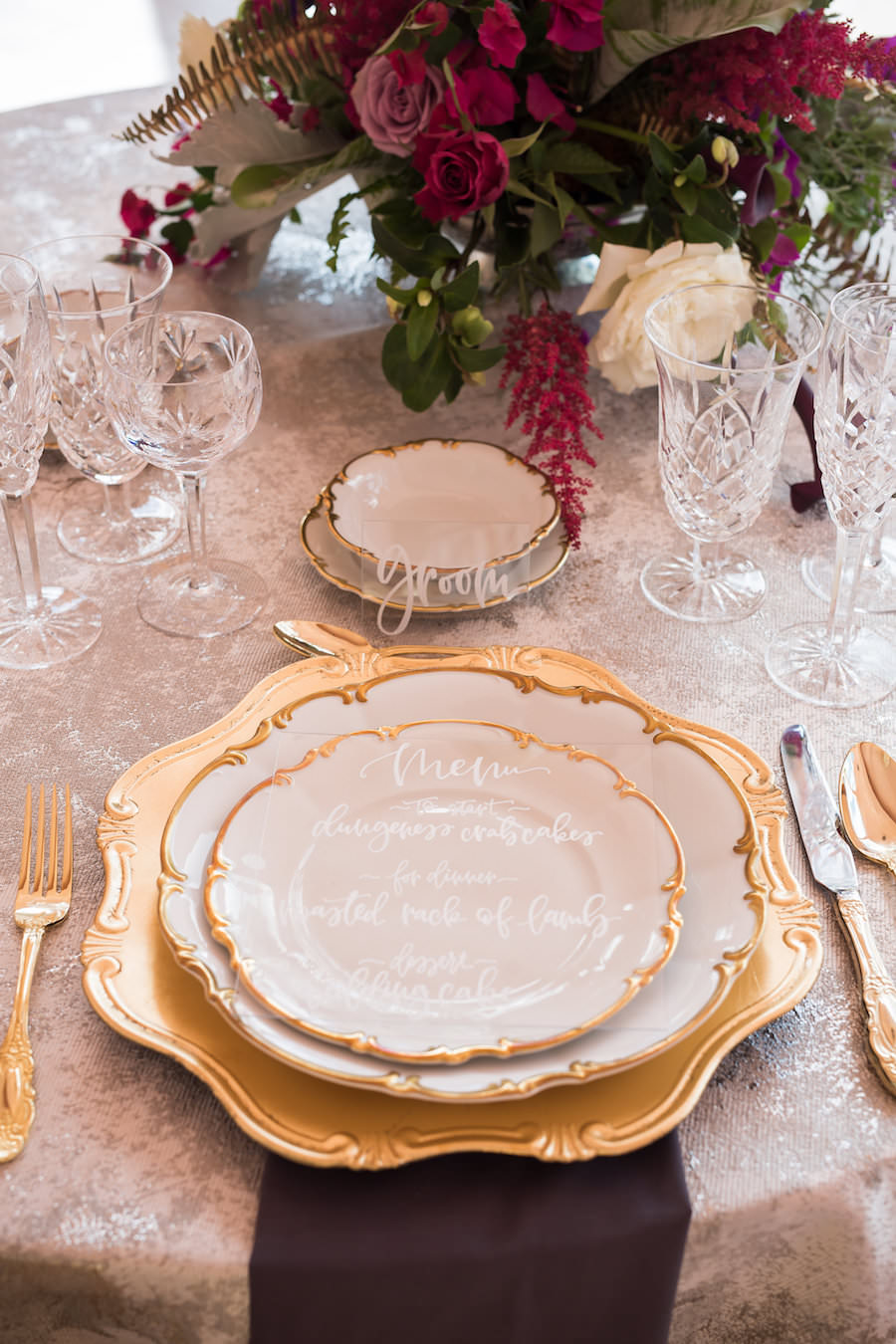 European Inspired Wedding Reception Inspiration and Decor | Gold Charger, Flatware, Vintage China and Acrylic Calligraphy Menu | Sarasota Wedding Planner NK Productions