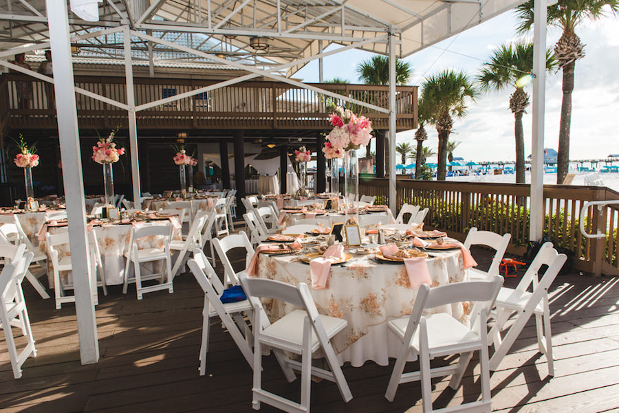 Outdoor, Clearwater Beach Waterfront Wedding Reception   Tall Ivory, Pink and Blush Pink Flower Centerpieces   Hilton Clearwater Beach