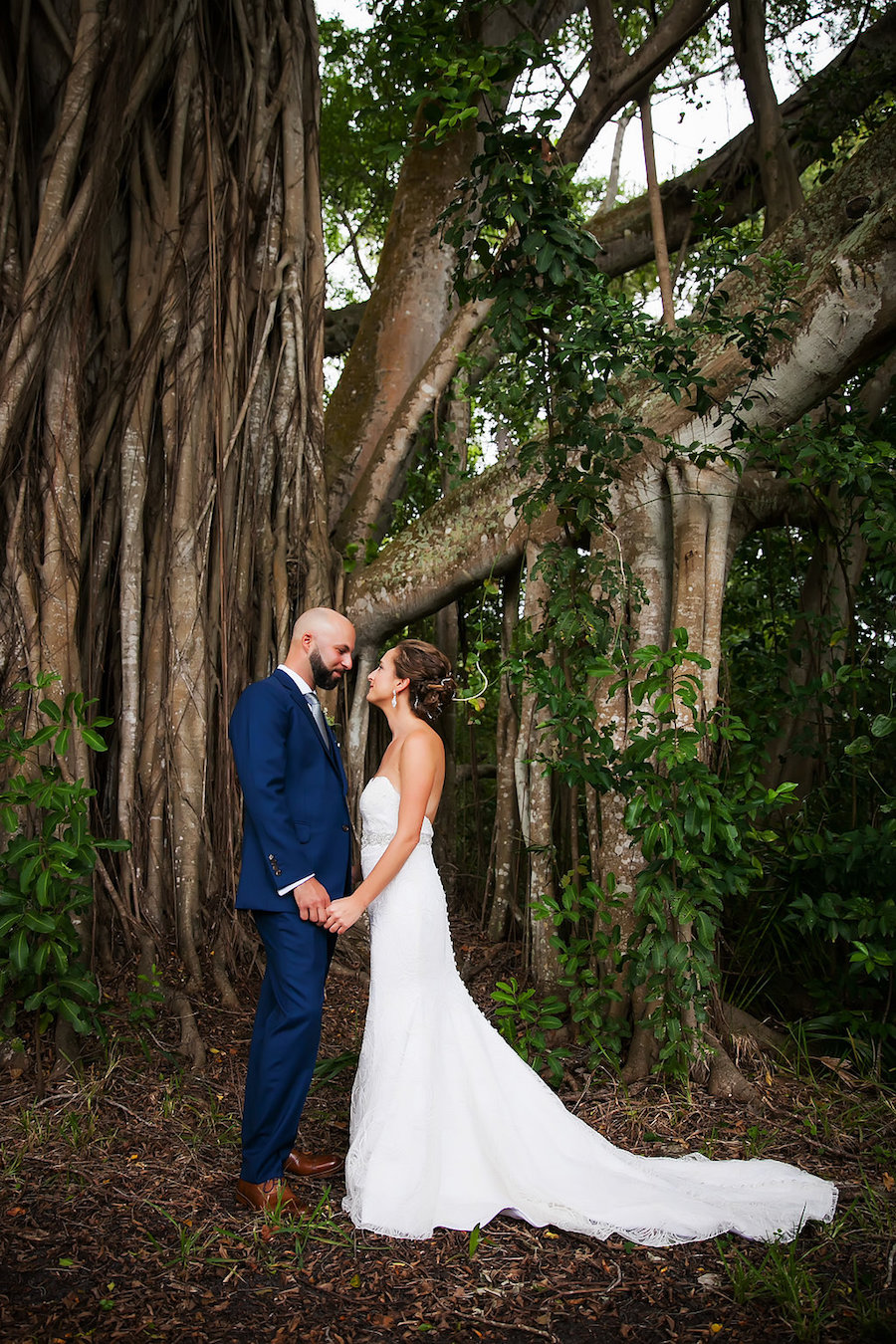 Outdoor, Sarasota Bride and Groom First Look Wedding Portrait   Tampa Bay Photographer Limelight Photography