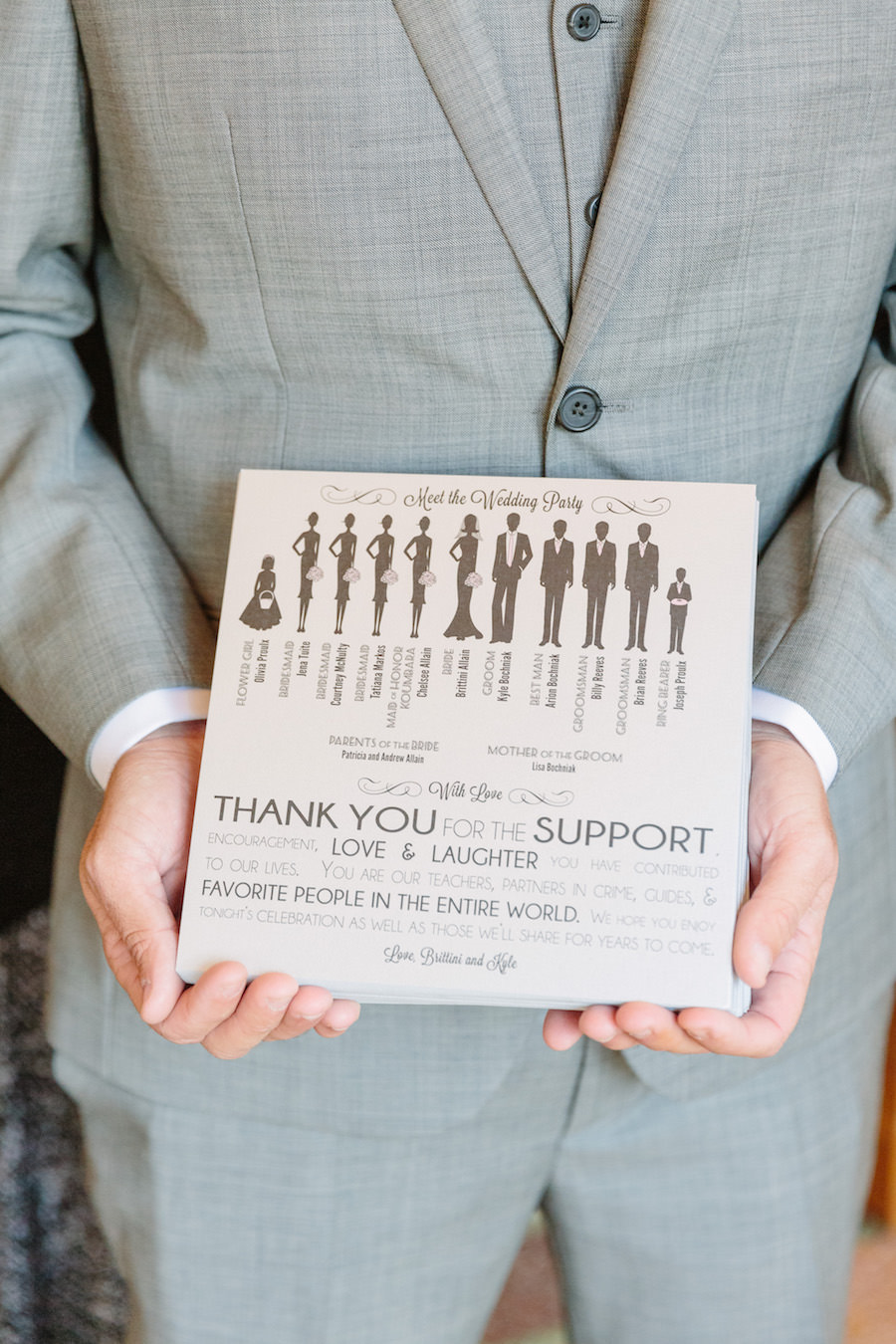 Custom Bridal Party Themed Wedding Program with Silhouette