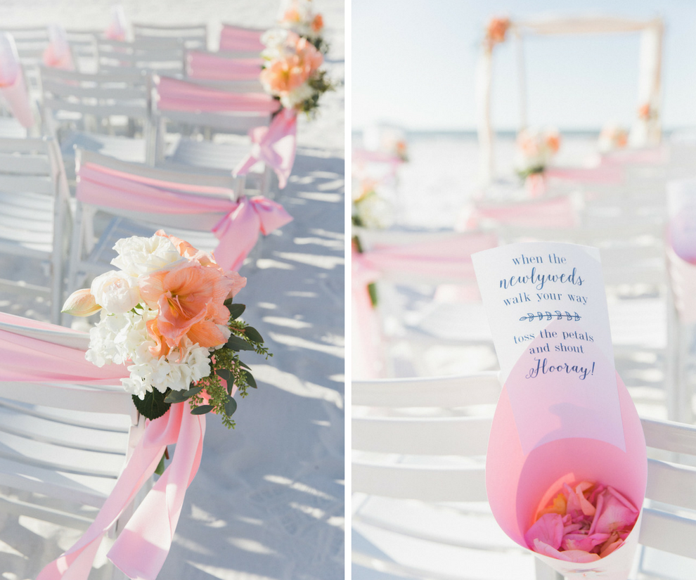 Florida beach wedding ceremony decor with petal toss sign with blue calligraphy | Blush, peach and ivory flowers | Tampa Bay Beachfront Hotel Hilton Clearwater Beach
