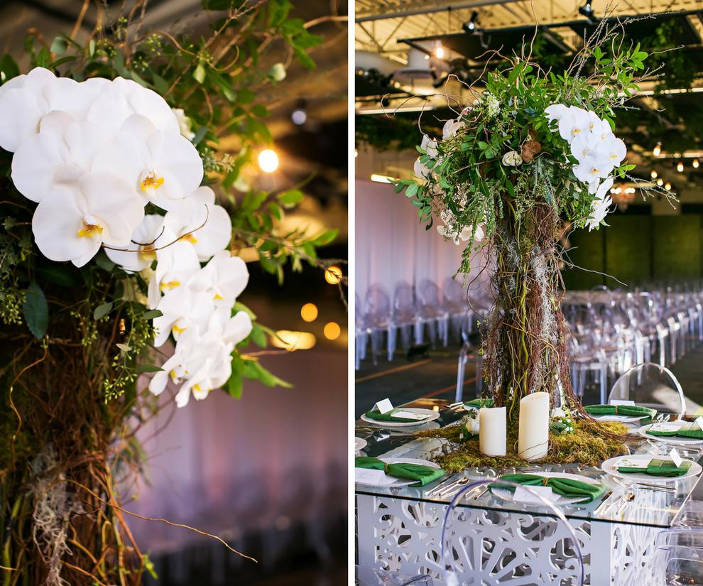 Modern Green Wedding Reception Inspiration & Ideas | Tall White Orchard Wooden Twig Centerpiece with Ghost Chairs | Rentals A Chair Affair | Downtown Tampa Wedding Venue Glazer's Children Museum | Wedding Planner Glitz Events