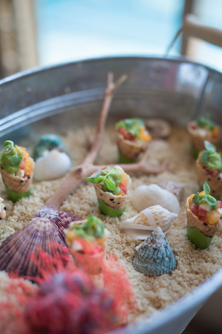 Unique Beach Inspired Cocktail Hour Hors d'oeuvres | Wedding Reception Food Ideas in Sand with Sea Shells | Waterfront Luxury Hotel Wedding Venue Ritz Carlton Sarasota