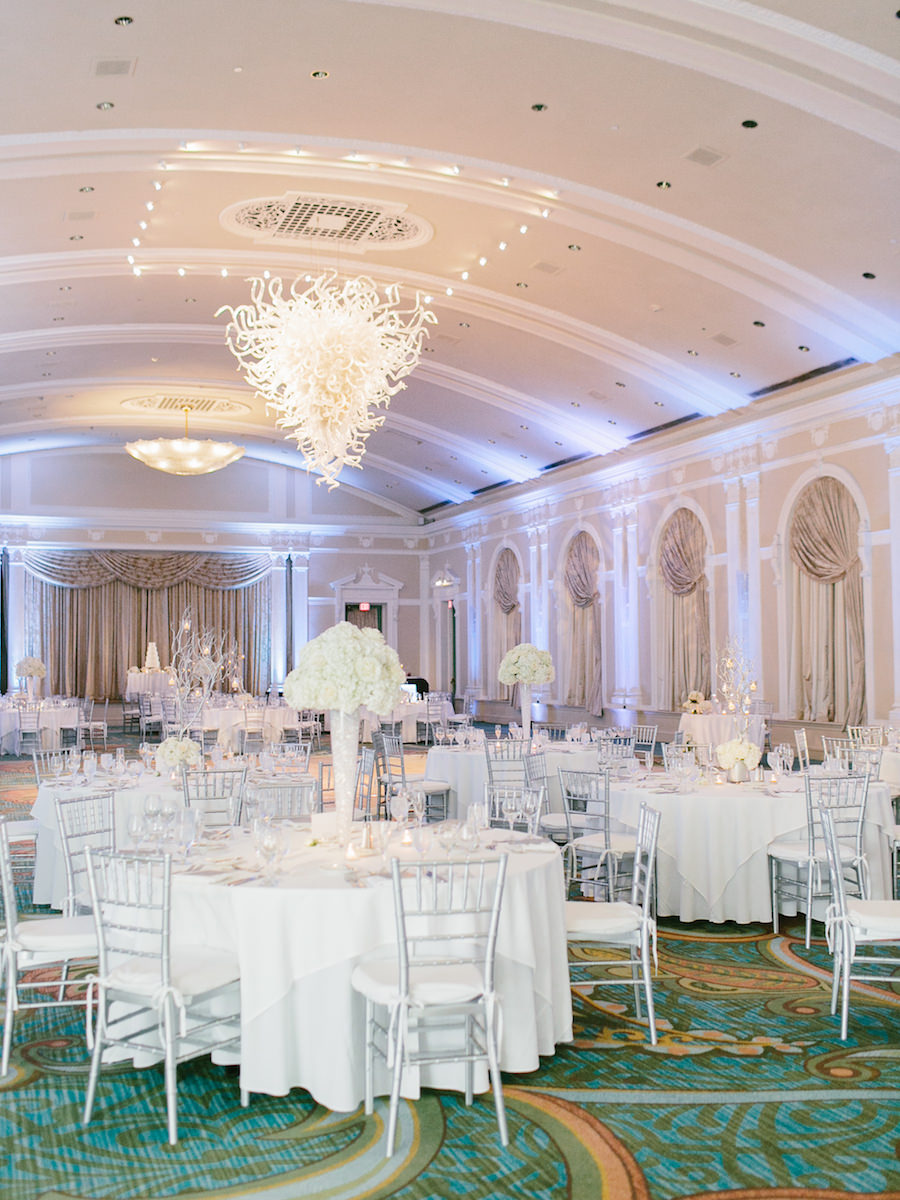 Traditional All White Wedding Reception at St. Petersburg FL Wedding Venue The Vinoy Renaissance