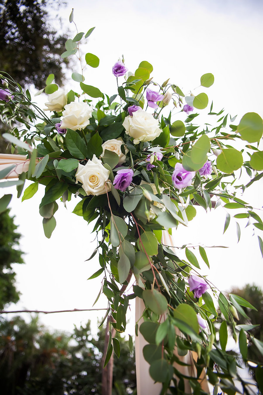 Sarasota Wedding Ceremony Ivory and Purple Roses with Greenery Arch