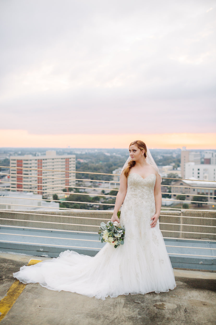 Outdoor Tampa Bride in Ivory, Beaded Sweetheart Trumpet Sophia Tolli Gown Wedding Portrait | The Tampa Club Wedding Venue