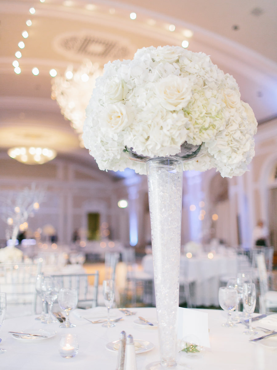 Tall White Wedding Centerpiece Flowers with Hydrangea and Roses in White Vases | St. Petersburg Wedding Planning by NK Productions