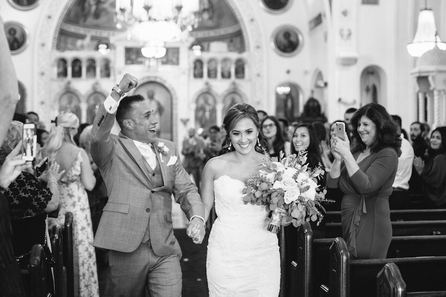 Bride and Groom Walking Down The Aisle Recessional Celebration