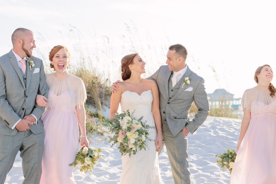Bride and Groom Beachfront Wedding Portrait with Bridal Party at Hilton Clearwater Beach Wedding Venue   Hair and Makeup by Michele Renee The Studio   Blush Pink and Grey Wedding Ideas