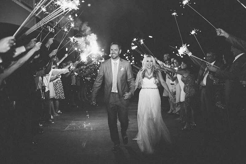 Bride and Groom Wedding Sparkler Wedding Exit