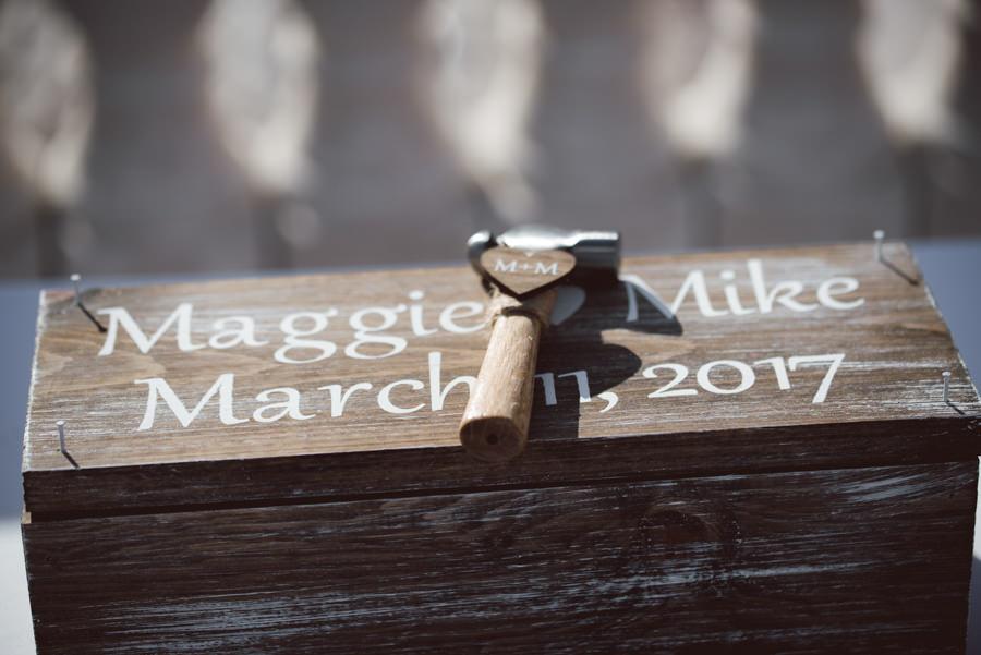Custom Wooden Wedding Vow Box with Mini Hammer