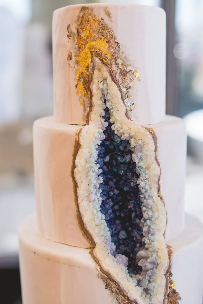 Three Tiered Blue Geode Crystal Wedding Cake | The Artistic Whisk