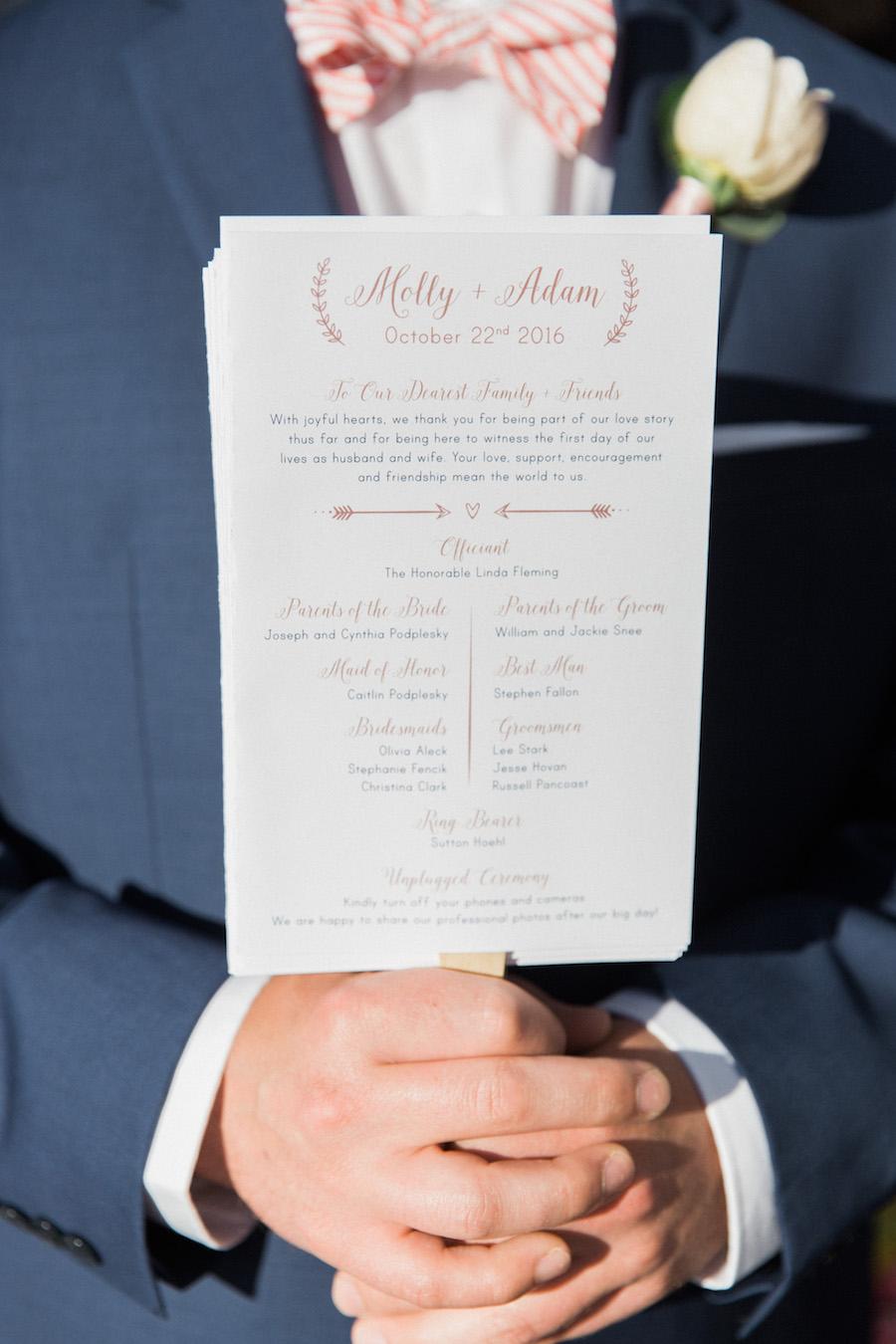 Blush and ivory ceremony program | Beach wedding | Wedding ceremony program fan