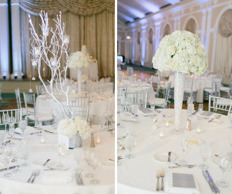 All White Wedding with Tall Hydrangea and Rose Centerpiece Flowers in White Vases with White Manzanita Branches | White Linens with White Chiavari Chairs at St. Petersburg Wedding Reception Venue Vinoy Renaissance | Wedding Planning by NK Productions