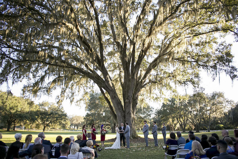 Rustic Outdoor Wedding Ceremony Under Spanish Moss Tree at Rustic Outdoor Wedding Venue The Lange Farm