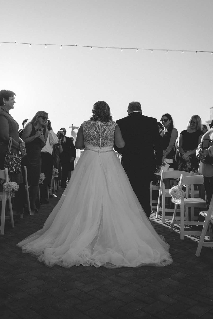 Bride and Father Walking Down The Aisle Wedding Portrait at Clearwater Beach Wedding Ceremony Venue Hyatt Regency Clearwater Beach