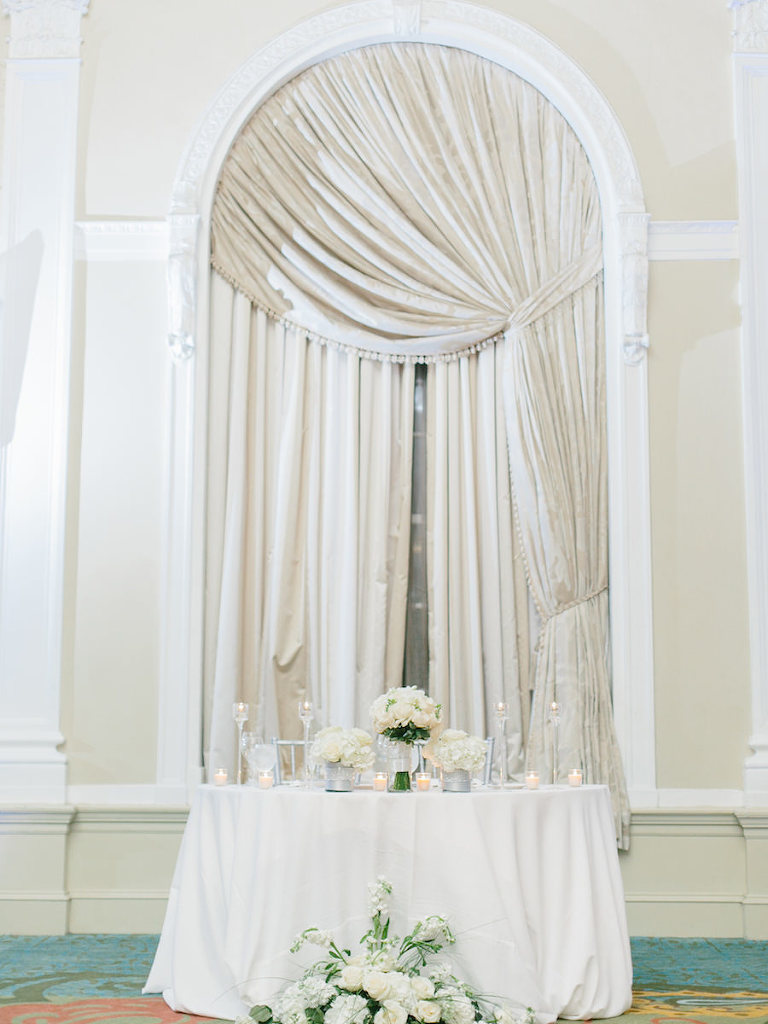 All White Wedding Reception with White Floral Centerpieces on White Linens | St. Petersburg Wedding Venue The Vinoy Renaissance | St. Pete Wedding Planning by NK Productions