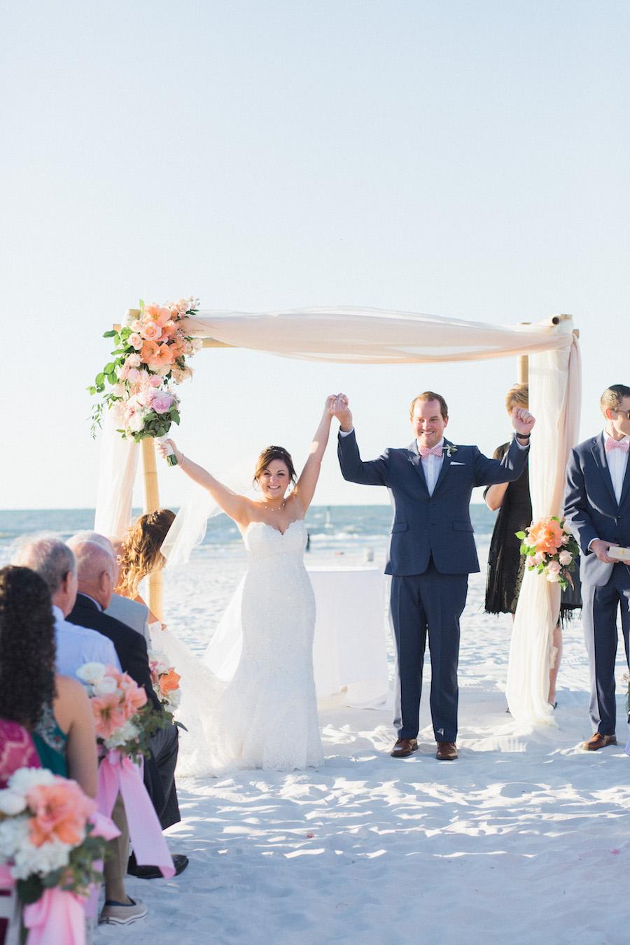Bride and Groom Ceremony Celebration | Ivory and blush Beach chic wedding Ceremony Decor | Tampa Bay Beachfront Hotel Wedding Venue Hilton Clearwater Beach