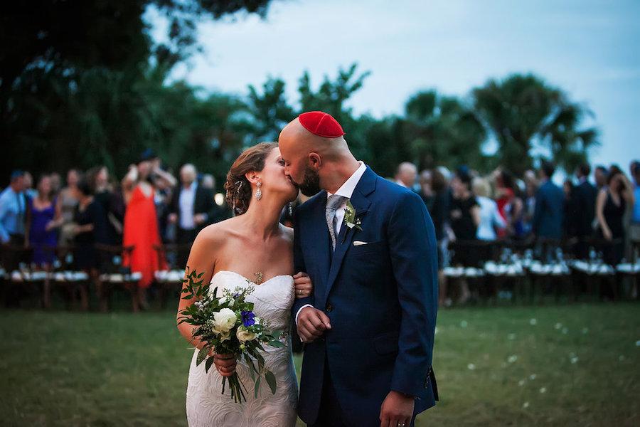 Outdoor, Sarasota Wedding Bride and Groom First Kiss | Tampa Bay Wedding Photographer Limelight Photography