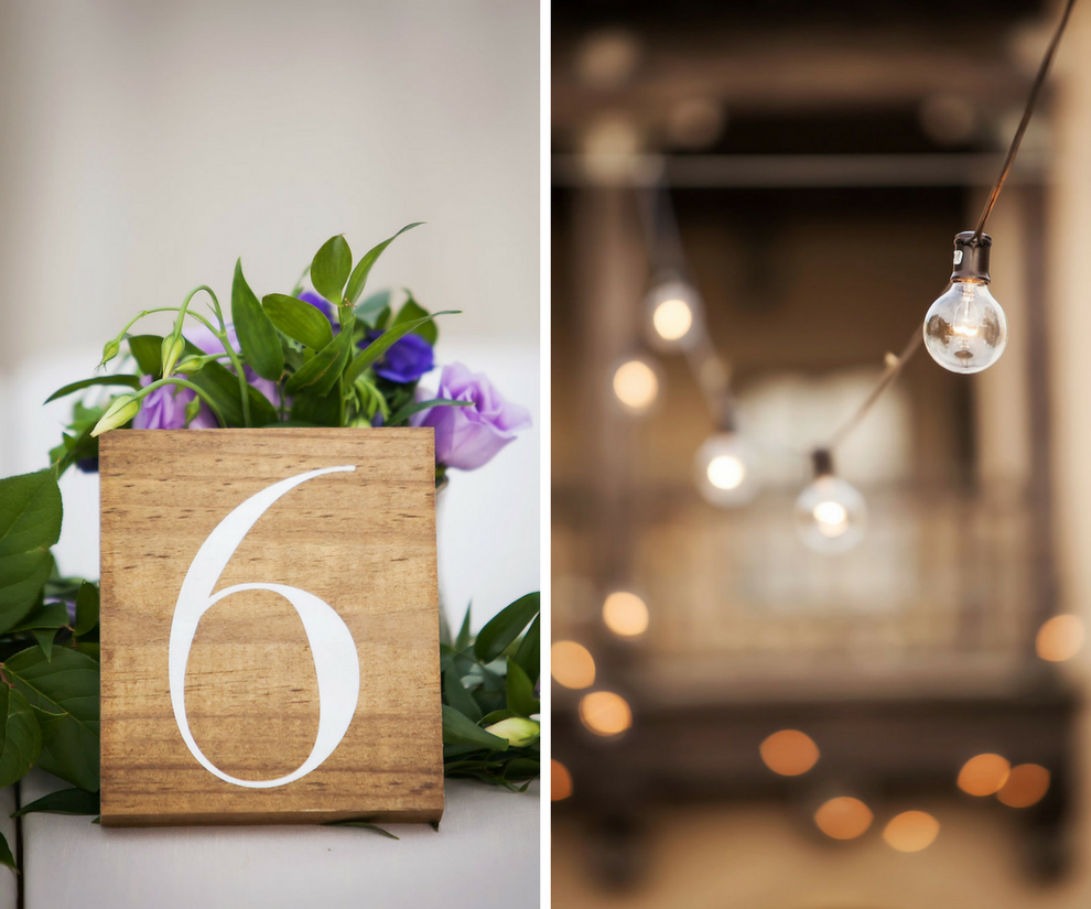 Wedding Reception Rustic Table Numbers with Purple Roses, Greenery and Stringlights   Wedding Planner NK Productions   Wedding Decor and Inspiration