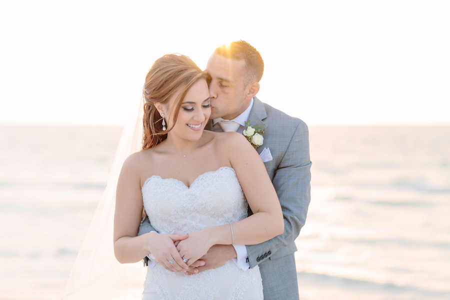 Outdoor, Hilton Clearwater Beach Waterfront Bride and Groom Sunset Wedding Portrait   Clearwater Beach Bridal Hair and Makeup by Michele Renee The Studio