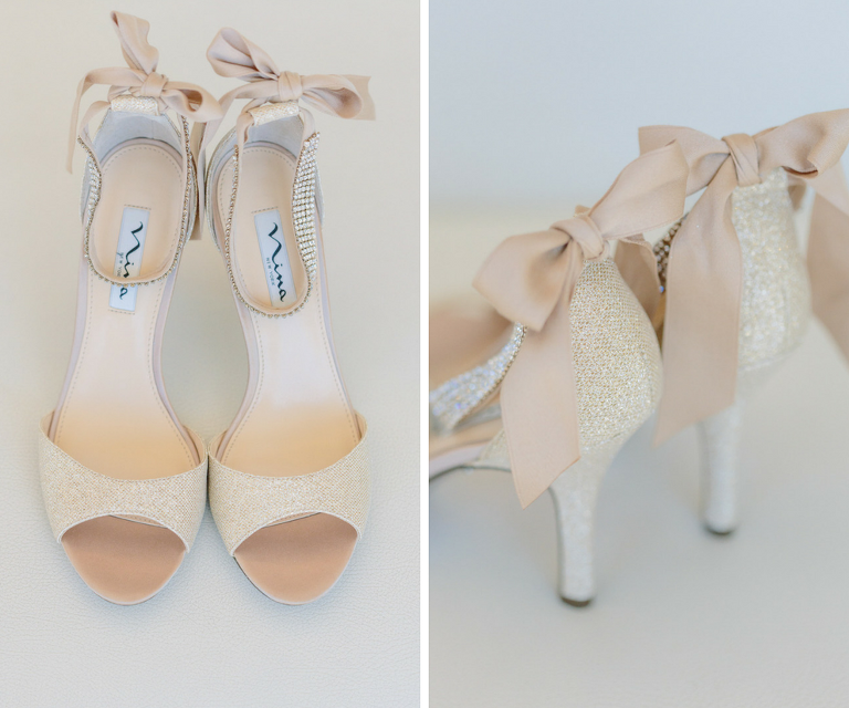 Champagne Sparkly Peep Toe Wedding Shoes with Satin Bow Back | Nina Vinnie Two-Piece Evening Sandals