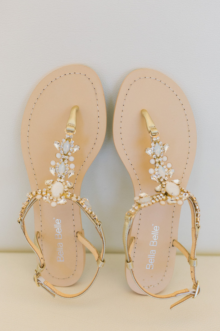 Bridal gold and champagne wedding shoes | Crystal and rhinestone wedding shoes | Flat bridal shoes | Bella Belle